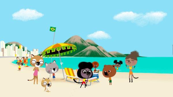 Nach der Bossa Nova-Lektion von seinem Onkel begeistert Miguel mit seiner Musik die Besucher am Strand von Rio de Janeiro. | Rechte: KiKA/Millimages