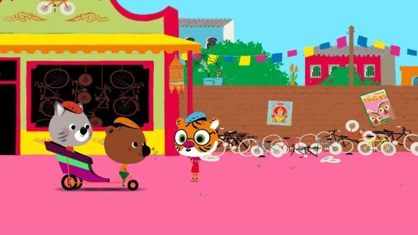 Mouk und Chavapa leihen sich im Fahrradladen von Mister Tarutapong die Rikscha seines Neffen aus. | Rechte: KiKA/Millimages