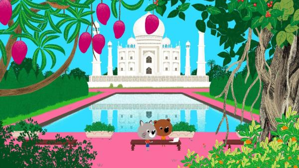 Mouk und Chavapa sind beim Taj Mahal angekommen. | Rechte: KiKA/Millimages