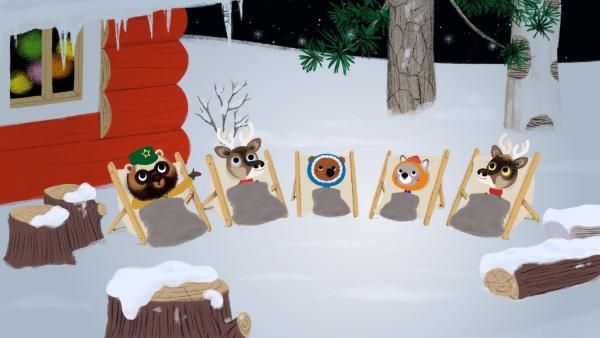 Zum Abschluss von Chavapas Geburtstag in Lappland gibt es noch eine unglaubliche Überraschung für alle Freunde. Was das wohl sein mag?   Rechte: KiKA/Millimages