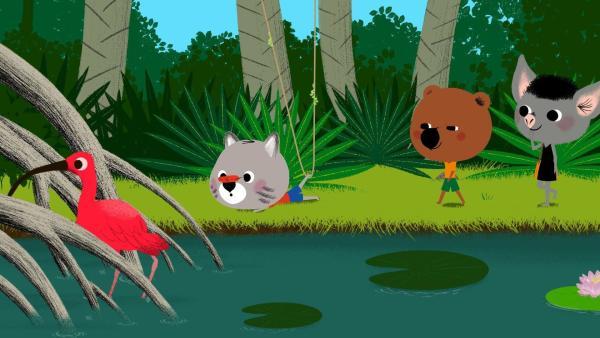 Mouk und Chavapa können Popo und Mita nicht kontaktieren, weil der Akku ihres Laptops leer ist. Taptuks Onkel schickt die Freunde los, um eine Papageienfeder und eine Jenipapofrucht zu besorgen. Aber wie sollen sie damit Kontakt zu ihren Freunden aufnehmen? | Rechte: KiKA/Millimages