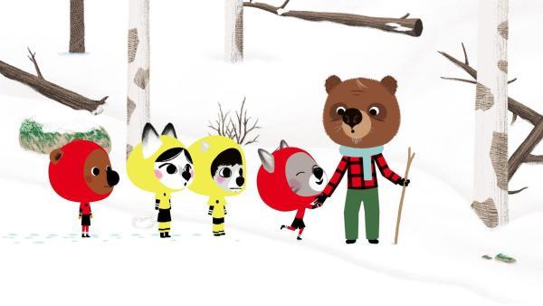 Mouk, Chavapa, Abey und Tadi gehen zu ihrem Freund Oki, der früher professioneller Eishockeyspieler war. Sie finden ihn im Wald beim Holzsuchen. | Rechte: KiKA/Millimages