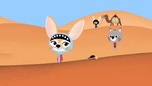 Mouk macht sich mit seinen Freunden Aicha und Zerda auf den Weg zu einem Tauschmarkt. | Rechte: KiKA/Millimages