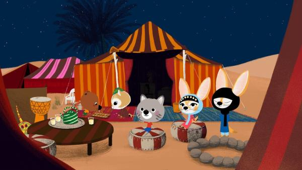 Mouk und seine Freunde haben ihr Nachtlager in der Wüste aufgeschlagen. | Rechte: KiKA/Millimages