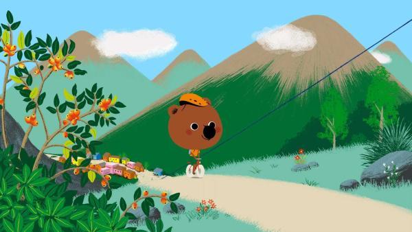 Mouk und Chavapa sind in Peru und wollen sich auf einem Berg mit ihrer Freundin Api treffen, die eine Überraschung für sie hat. | Rechte: KiKA/Millimages