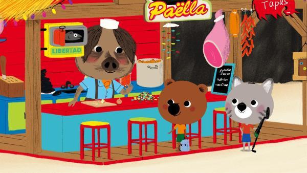 Mouk und Chavapa sind in Spanien und wollen in Emilios Restaurant Paella essen. | Rechte: KiKA/Millimages