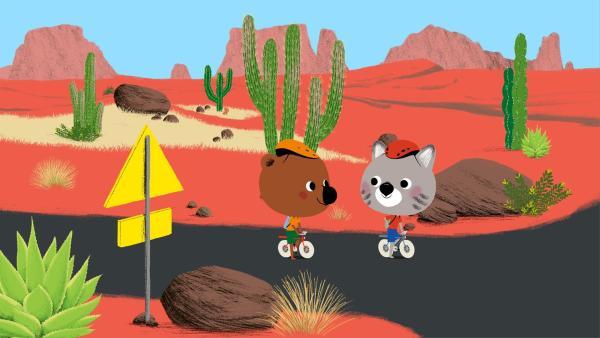 Mouk und Chavapa radeln durch Arizona, um ein besonders tolles Foto zu machen. | Rechte: KiKA/Millimages