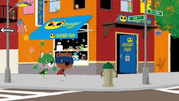 Als Superhelden verkleidet sind Mouk und Chavapa in New York unterwegs. Ihre Freundin Serissa hat sie zu einer Superhelden-Party eingeladen, doch wo diese Party stattfindet, hat sie ihnen nicht verraten. | Rechte: KiKA/Millimages