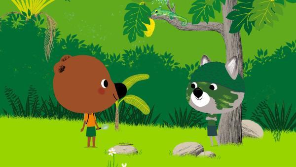 Da Chavapa unbedingt ein Chamäleon sehen will, gehen er und Mouk in den Wald und tarnen sich dabei, so gut sie nur können. | Rechte: KiKA/Millimages
