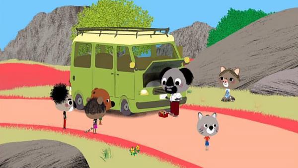 Mouk und Chavapa fahren mit Bob, dem Vater ihres Freundes Sidney, im Bus durch das australische Hinterland, als der Bus eine Panne hat. | Rechte: KiKA/Millimages