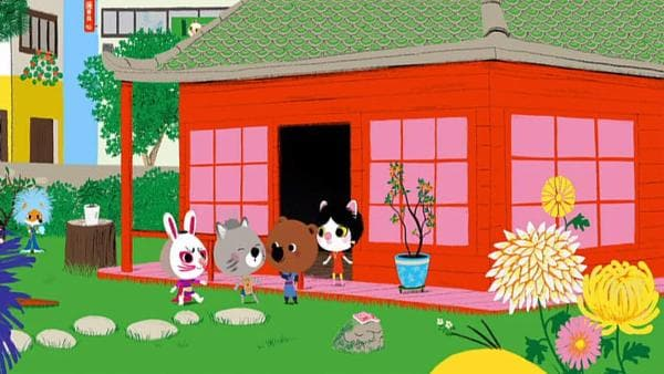 In Tokio sind Mouk und Chavapa von ihrer Freundin Miko zu einer Kostümparty eingeladen worden. | Rechte: KiKA/Millimages