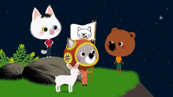 Ihr türkischer Freund Kedi verspricht Mouk und Chavapa eine Reise zum Mond. | Rechte: KiKA/Millimages