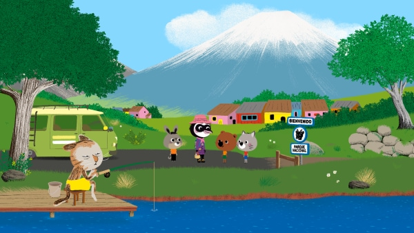 Hinter Mouk und Chavapa erhebt sich der große Vulkan, den Copiapoa erforschen möchte. | Rechte: KiKA/ Millimages