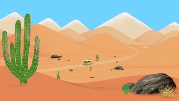 Mit dem Bus fahren die Weltreisenden durch die Atacam Wüste in Chile, um ihren Freund Pepito zu besuchen. | Rechte: KiKA/ Millimages