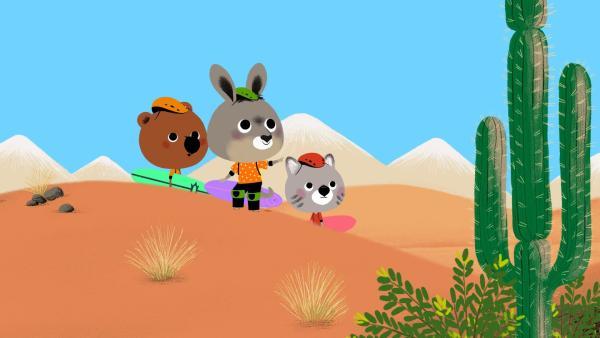 Pepito zeigt den Abenteurern, wo sie lang müssen: Immer bergauf! | Rechte: KiKA/ Millimages