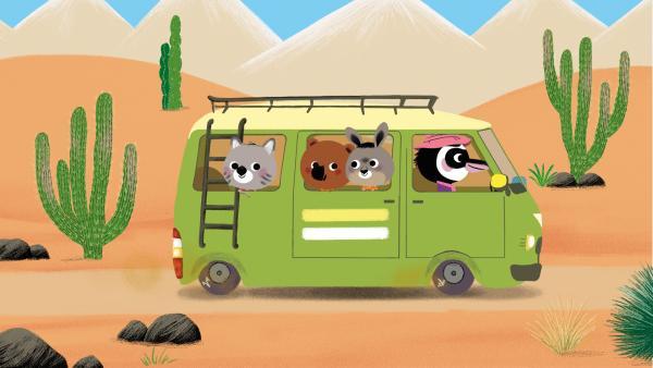 Mouk und Chavap fahren im Bus durch Chile | Rechte: KiKA/Millimages