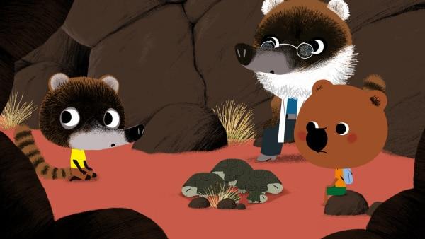 Mouk hat gleich eine ganze Familie der Wüstenschildkröten gefunden. Luis und sein Vater Juan freuen sich sehr darüber. | Rechte: KiKA/Millimages