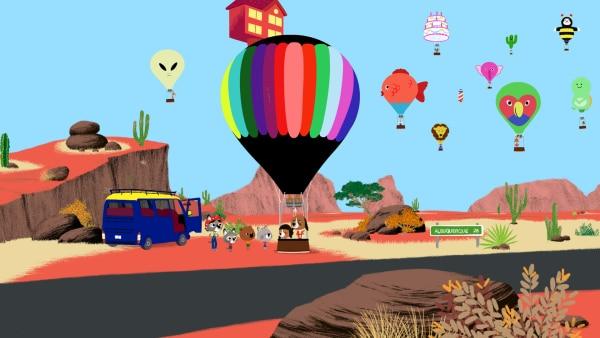Geschafft! Jospeh und seine Tochter können mit ihrem Heißluftballon endlich starten. Mouk, Chavapa, Tucosn und Sedona sind begeistert von den tollen Farben und Formen der Ballone.  | Rechte: KiKA/Millimages