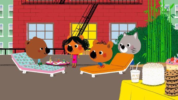 Welch eine Überraschung! Mita und Popo sind ebenfalls auf der Geburtstagsfeier von Serissa zu Gast! Nach langer Zeit treffen sich die vier Freunde wieder und diesmal nicht nur an einem Computerbildschirm!  | Rechte: KiKA/Millimages