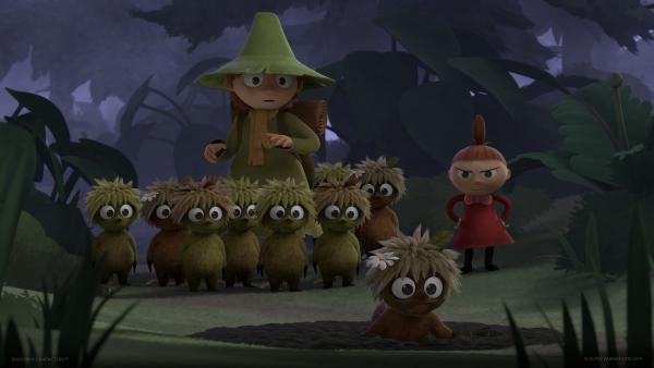 Snufkin (Mitte) hat den Verbotsschildern den Kampf angesagt.   Rechte: ZDF/Moomin Characters/Gutsy Animations 2019