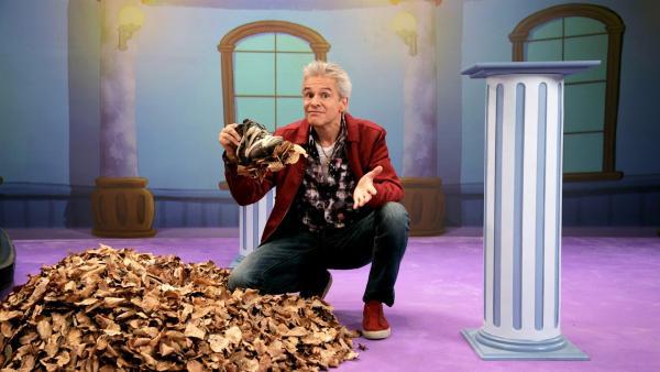 Im Saal der seltsamen Sachen zeigt uns Moderator Thomas einen Schuh, der uns das Laubsammeln erleichtern soll. Ob dieser Schuh wirklich hilfreich ist? | Rechte: ZDF/Andreas Hagemann