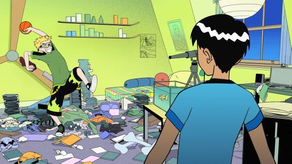 Weil Ricki (re.) seine Wohnung räumen muss, kann er bei Liam (li.) einziehen. Als Ricki aber anfängt, Liams Zimmer aufzuräumen, ist dessen anfängliche Begeisterung schnell dahin. | Rechte: KiKA/Carpediem Film & TV (II) Inc.