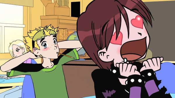 Birch (re.) glaubt, sie wäre Rickis heimliche große Liebe, was Liam (li.) sehr erstaunt. | Rechte: KiKA/Carpediem Film & TV (II) Inc.