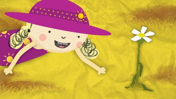 Nora entdeckt im Garten eine Blume, die durstig ist. | Rechte: KiKA/Geronimo Productions