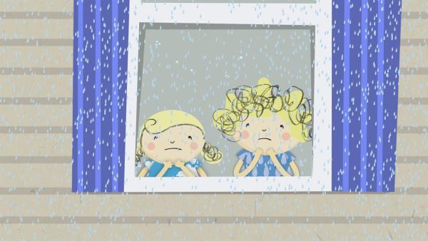 Heute regnet es und Nele und Nora müssen drinnen bleiben. | Rechte: KiKA/Geronimo Productions