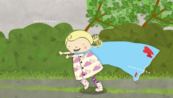 Nora spielt im Wind mit der Wäsche. | Rechte: KiKA/Geronimo Productions