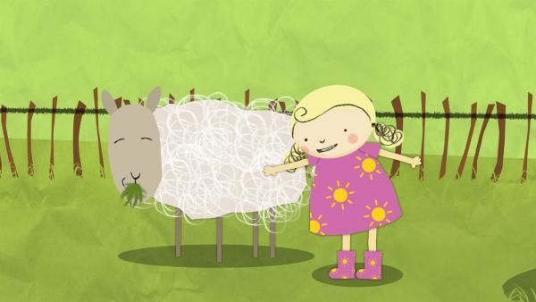 Nora findet, dass es den Schafen viel zu warm sein muss. | Rechte: KiKA/Geronimo Productions