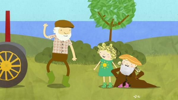 Bauer Jost trifft auf Nele und Nora. | Rechte: KiKA/Geronimo Productions