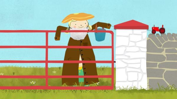 Nora und Nele verkleiden sich als Bauer, um die Kühe anzulocken. | Rechte: KiKA/Geronimo Productions