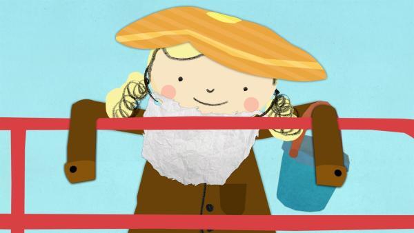 Nora lehnt sich über das Weidegatter. | Rechte: KiKA/Geronimo Productions