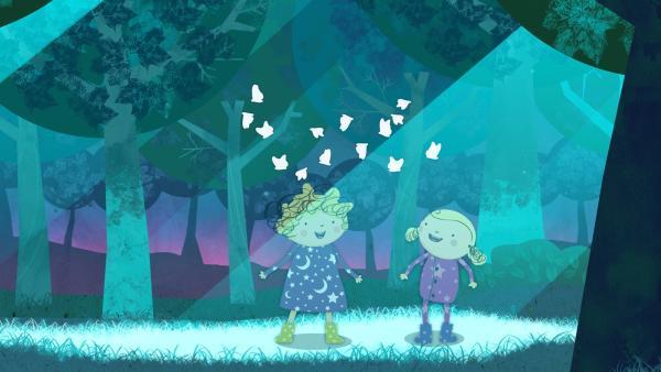 Nele und Nora bestaunen die vielen Nachtfalter. | Rechte: KiKA/Geronimo Productions