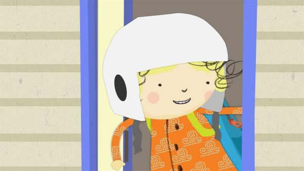 Astronautin Nora tritt aus der Raumstation heraus. | Rechte: KiKA/Geronimo Productions