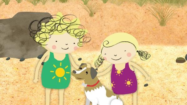 Nele und Nora finden einen freundlichen Hund am Strand. | Rechte: KiKA/Geronimo Productions