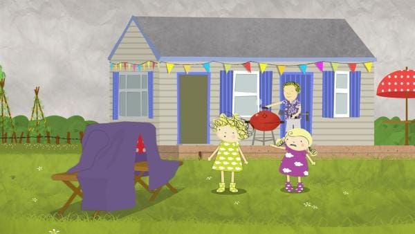 Nora und Nele befürchten, dass es gleich regnen wird und dass Papa nicht mehr grillen kann. | Rechte: KiKA/Geronimo Productions