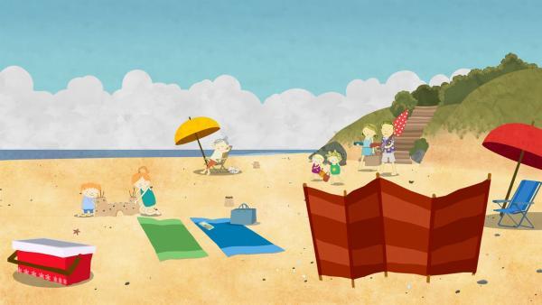 Heute gehen Nora, Nele, Mama und Papa an den Strand. Frau Bonner, Oliver und Kathie sind bereits dort. | Rechte: KiKA/Geronimo Productions
