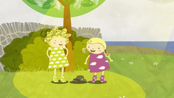 Nele und Nora finden ein sonniges Fleckchen und tolle Steine. | Rechte: KiKA/Geronimo Productions