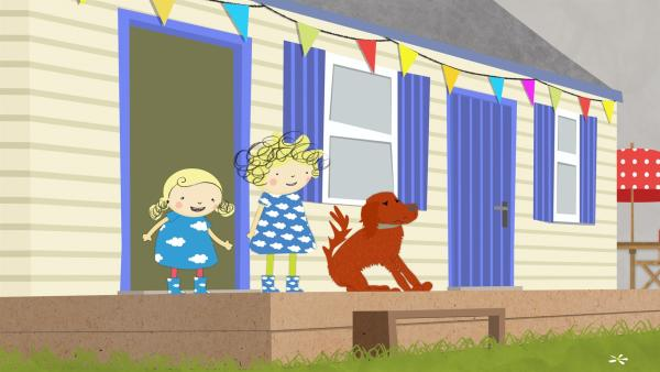Heute passen Nora und Nele auf den Hund Ruffi auf. Doch Ruffi hat Angst vor dem Donner. | Rechte: KiKA/Geronimo Productions