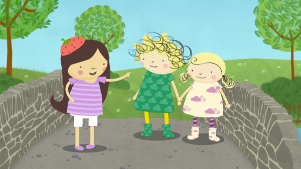 Das neue Mädchen, Véronique, und Nele und Nora werden doch noch Freunde.   Rechte: KiKA/Geronimo Productions