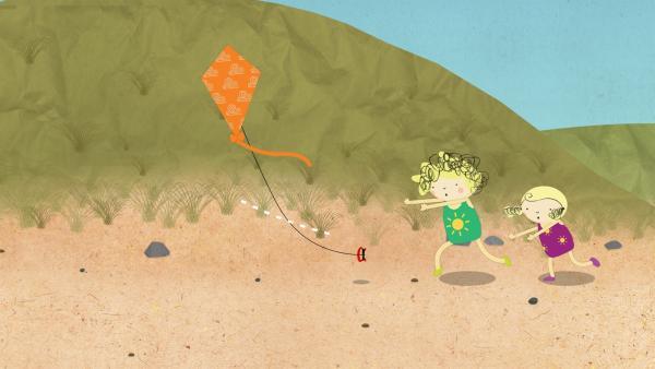 Ein kräftiger Windstoß reißt den beiden Mädchen den Drachen aus der Hand. | Rechte: KiKA/Geronimo Productions