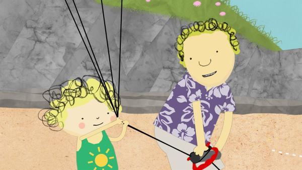 Papa hilft Nele bei einem besonderen Plan. | Rechte: KiKA/Geronimo Productions