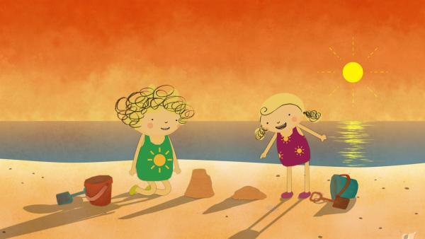 Nora und Nele sind am Strand, wo die Sonne langsam untergeht. | Rechte: KiKA/Geronimo Productions