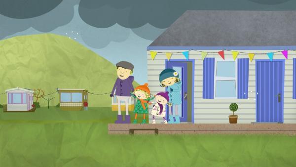 Heute ist es etwas stürmisch. Doch das macht nichts, denn Papa, Nora, Nele und Mama tragen die richtige Kleidung. | Rechte: KiKA/Geronimo Productions