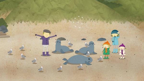 Die frechen Möwen stören die Seehunde beim Ausruhen. Papa versucht sie zu verscheuchen. Das bringt Nele, Mama und Nora zum Lachen. | Rechte: KiKA/Geronimo Productions