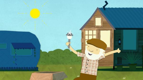 Bauer Jost zeigt eine Solarlampe.   Rechte: KiKA/Geronimo Productions