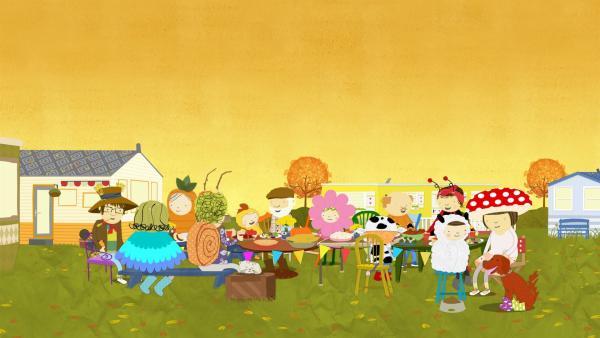 Die ganze Nachbarschaft trägt tolle Kostüme. | Rechte: KiKA/Geronimo Productions