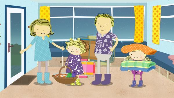 Mama, Nele, Papa und Nora bereiten sich vor. Sie wollen heute Nacht die Mondfinsternis beobachten. | Rechte: KiKA/Geronimo Productions